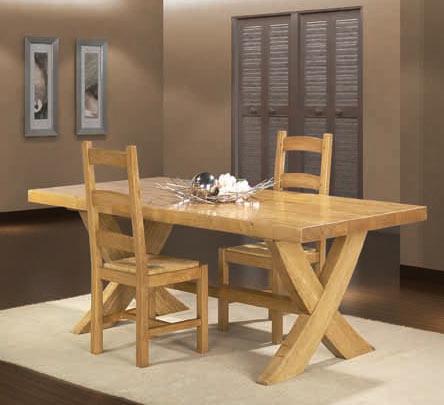 Salle manger rustique roanne ch ne massif meubles bois for Table salle a manger en bois massif