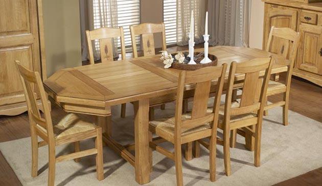 Salle a manger rustique ardoise en ch ne meubles bois massif for Salle a manger ovale