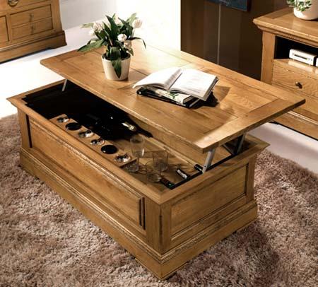 Salon rustique bella en ch ne massif meubles bois massif - Table de salon en bois massif ...