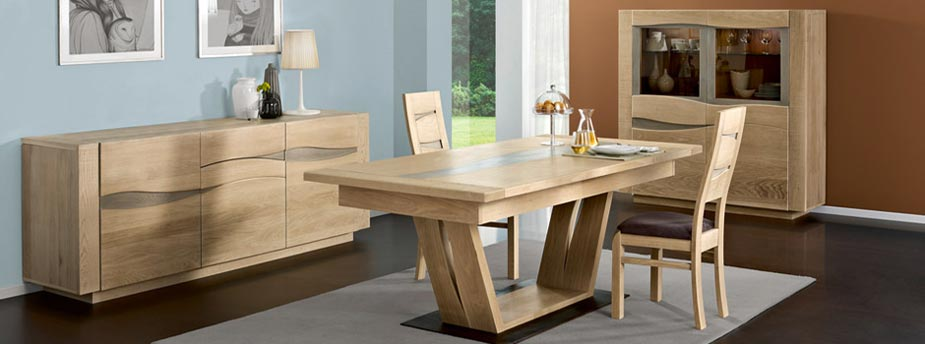 table a manger moderne en bois meuble de salon contemporain. Black Bedroom Furniture Sets. Home Design Ideas