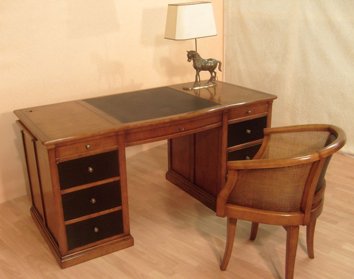 Bureau ministre en merisier bora meubles bois massif - Bureau meuble bois ...