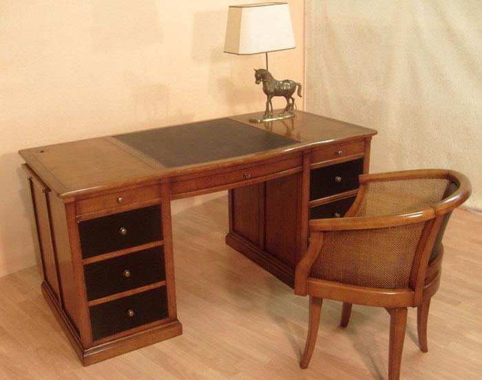 Bureau ministre en merisier bora meubles bois massif for Bureau massif