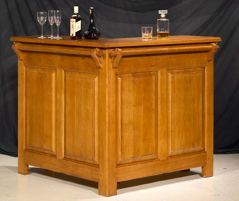 bar d 39 angle rustique avec ou sans rehausse meubles bois. Black Bedroom Furniture Sets. Home Design Ideas