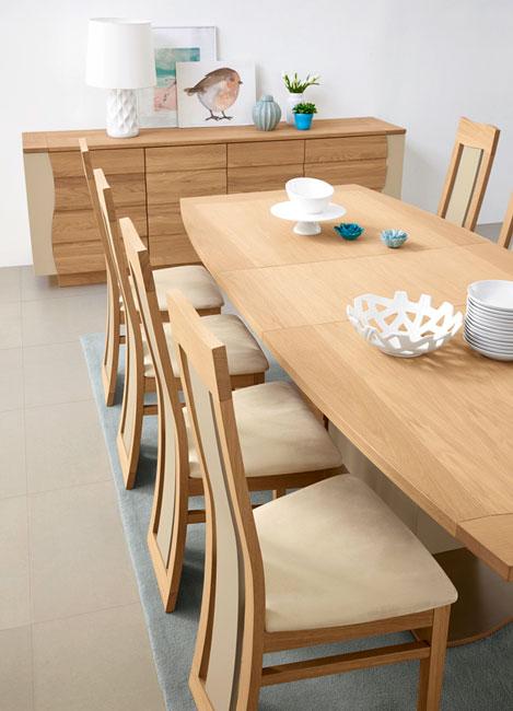 Salle manger lady ch ne et bois laqu meubles bois massif for Model de table a manger en bois