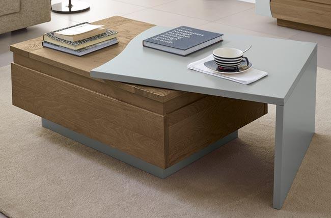 Table de salon lady ch ne et bois laqu meubles bois massif for Mobilier laque contemporain table basse