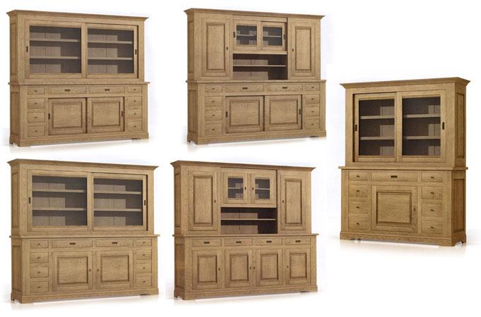 bahuts et vaisselier rustique look en ch ne meubles bois massif. Black Bedroom Furniture Sets. Home Design Ideas