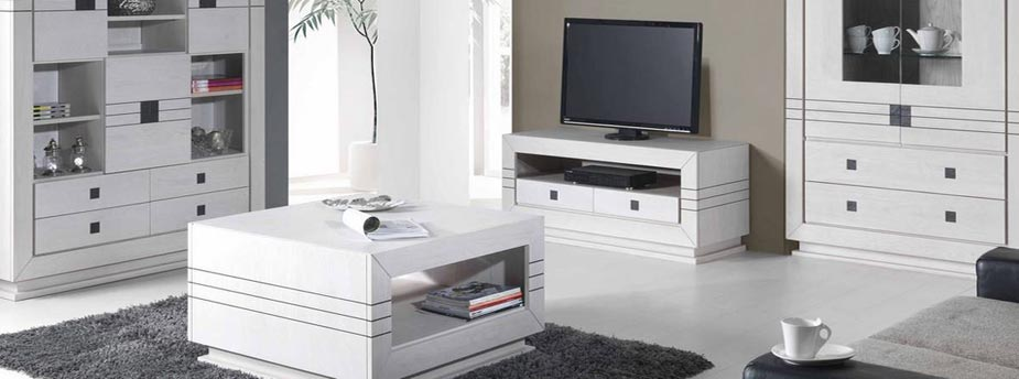 Salon olivine en ch ne blanc d tails ardoise meubles for Sejour contemporain bois massif