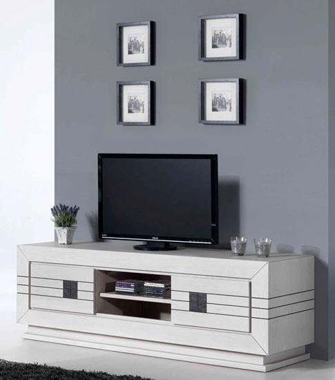 S jour moderne olivine en ch ne blanc meubles bois massif for Sejour contemporain bois massif