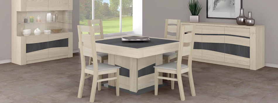 Meuble bois massif contemporain table de lit - Table salle a manger chene massif contemporain ...