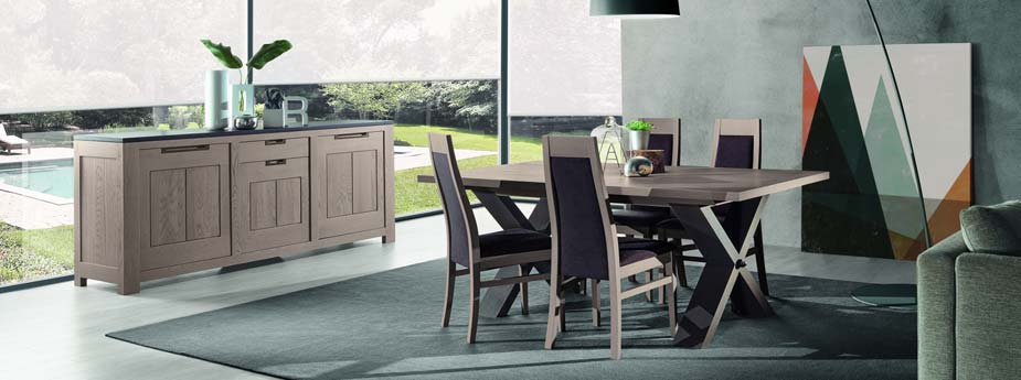 Mobilier salle manger orion en ch ne meubles bois massif for Mobilier salle a manger