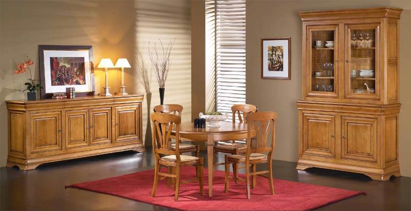 Salle manger topaze meubles rustiques meubles bois massif for Salle a manger merisier