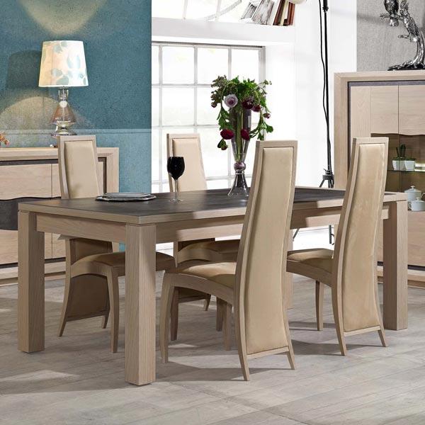 Salle manger wapa ch ne gris anthracite meubles bois Meuble salle a manger bois gris
