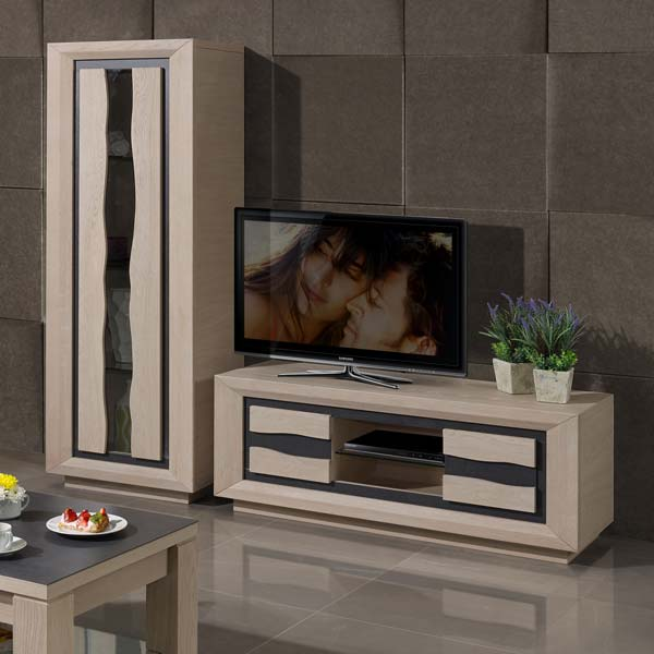 S jour moderne wapa ch ne et c ramique meubles bois massif for Sejour contemporain bois massif