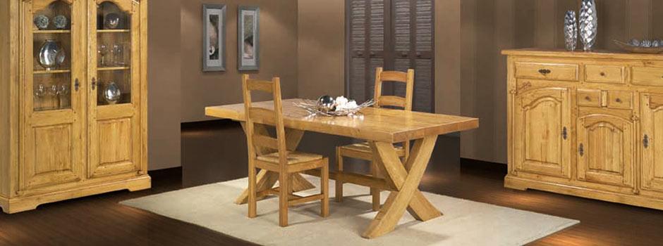 Salle manger rustique roanne ch ne massif meubles bois - Salle a manger rustique en chene massif ...