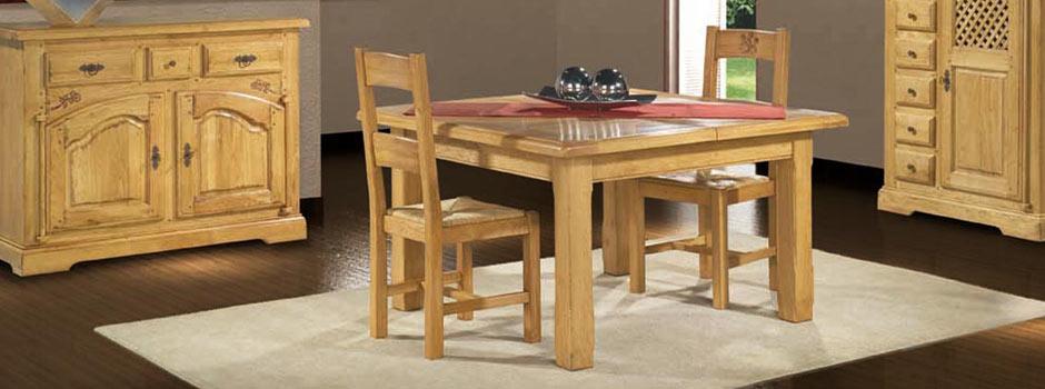 Salle manger rustique ch ne massif roanne meubles bois - Salle a manger rustique en chene massif ...