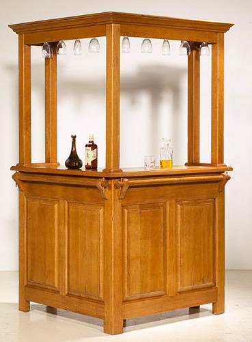 Bar d 39 angle rustique avec rehausse meubles bois massif - Meuble bar pour salon ...