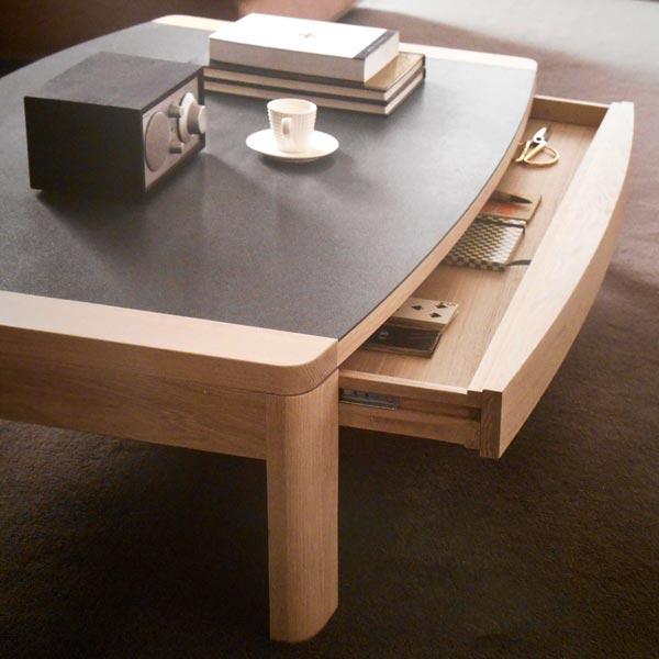 Salon contemporain marina ch ne et c ramique meubles bois masif - Table salon dessus ceramique ...