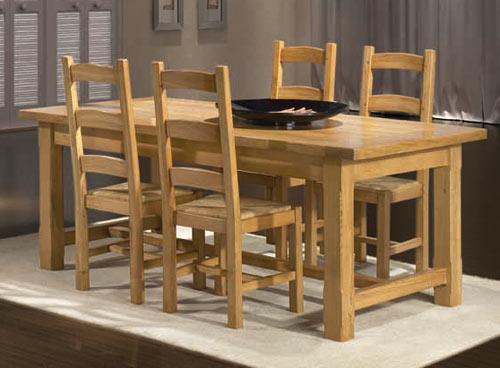 Ensemble salle manger rustique roanne meubles bois massif - Salle a manger rustique en chene massif ...